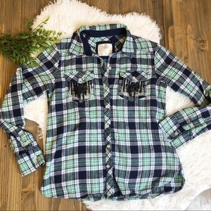Justice Sparkly Plaid Flannel Shirt 14